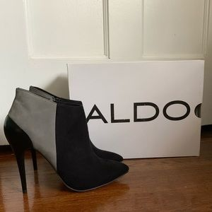 Aldo Never Been Worn Black/Gray Suede Heel Booties